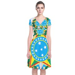 Coat of Arms of Brazil, 1971-1992 Short Sleeve Front Wrap Dress