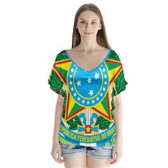 Coat Of Arms Of Brazil, 1971 1992 Flutter Sleeve Top