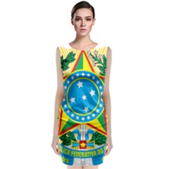 Coat of Arms of Brazil, 1971-1992 Sleeveless Velvet Midi Dress