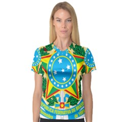Coat of Arms of Brazil, 1968-1971 Women s V-Neck Sport Mesh Tee