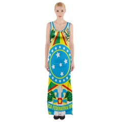 Coat of Arms of Brazil, 1968-1971 Maxi Thigh Split Dress