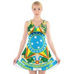 Coat of Arms of Brazil, 1968-1971 V-Neck Sleeveless Skater Dress