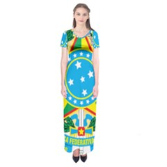 Coat of Arms of Brazil, 1968-1971 Short Sleeve Maxi Dress