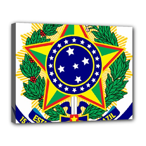 Coat of Arms of Brazil Canvas 14  x 11