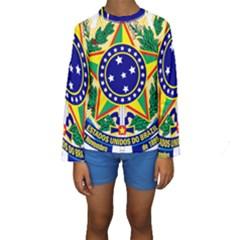 Coat of Arms of Brazil Kids  Long Sleeve Swimwear