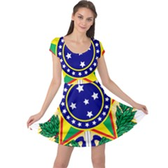 Coat of Arms of Brazil Cap Sleeve Dresses