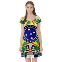Coat of Arms of Brazil Short Sleeve Skater Dress