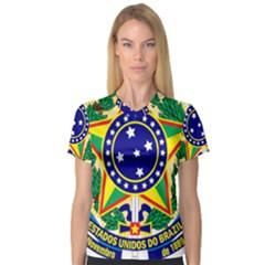 Coat of Arms of Brazil Women s V-Neck Sport Mesh Tee