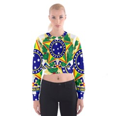 Coat of Arms of Brazil Women s Cropped Sweatshirt