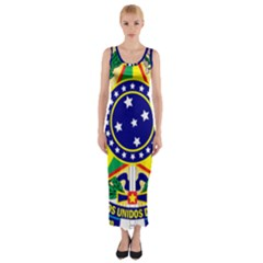 Coat of Arms of Brazil Fitted Maxi Dress