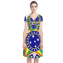 Coat of Arms of Brazil Short Sleeve Front Wrap Dress