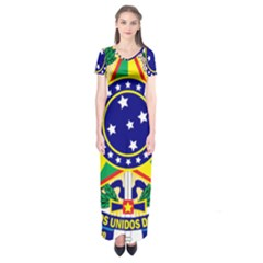Coat of Arms of Brazil Short Sleeve Maxi Dress