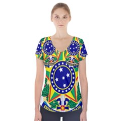 Coat of Arms of Brazil Short Sleeve Front Detail Top