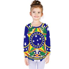Coat of Arms of Brazil Kids  Long Sleeve Tee