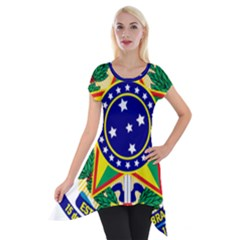 Coat Of Arms Of Brazil Short Sleeve Side Drop Tunic