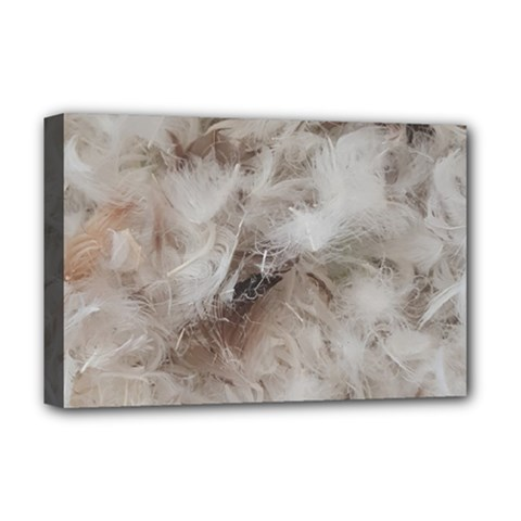 Down Comforter Feathers Goose Duck Feather Photography Deluxe Canvas 18  x 12