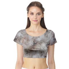 Down Comforter Feathers Goose Duck Feather Photography Short Sleeve Crop Top (Tight Fit)