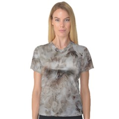Down Comforter Feathers Goose Duck Feather Photography Women s V-Neck Sport Mesh Tee