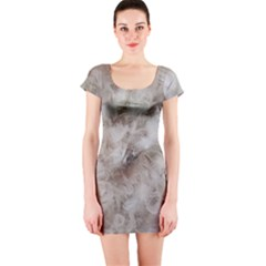 Down Comforter Feathers Goose Duck Feather Photography Short Sleeve Bodycon Dress