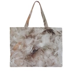 Down Comforter Feathers Goose Duck Feather Photography Zipper Large Tote Bag