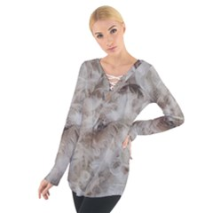 Down Comforter Feathers Goose Duck Feather Photography Women s Tie Up Tee