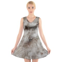 Down Comforter Feathers Goose Duck Feather Photography V-Neck Sleeveless Skater Dress
