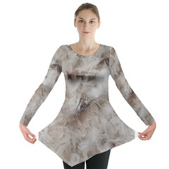 Down Comforter Feathers Goose Duck Feather Photography Long Sleeve Tunic