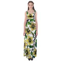Golden Flowers  by WBK:  Empire Waist Maxi Dress