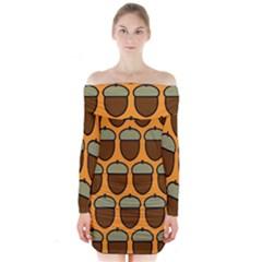 Acorn Orang Long Sleeve Off Shoulder Dress