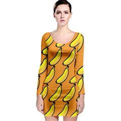 Banana Orange Long Sleeve Bodycon Dress