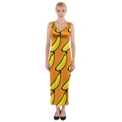 Banana Orange Fitted Maxi Dress