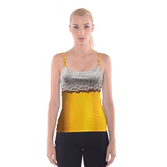 Beer Foam Yellow Spaghetti Strap Top