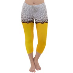 Beer Foam Yellow Capri Winter Leggings