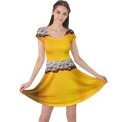 Beer Foam Yellow Cap Sleeve Dresses