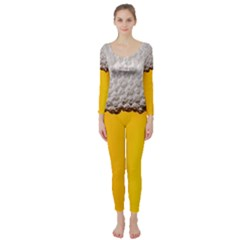 Beer Foam Yellow Long Sleeve Catsuit