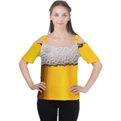 Beer Foam Yellow Women s Cutout Shoulder Tee