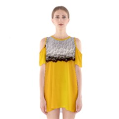 Beer Foam Yellow Cutout Shoulder Dress