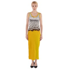 Beer Foam Yellow Fitted Maxi Dress