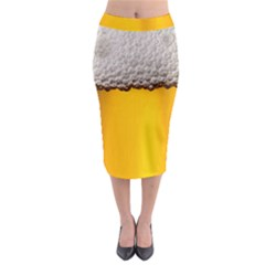 Beer Foam Yellow Midi Pencil Skirt