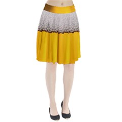 Beer Foam Yellow Pleated Skirt