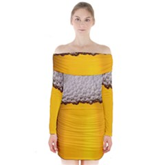 Beer Foam Yellow Long Sleeve Off Shoulder Dress