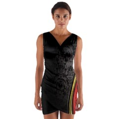 Black Red Yellow Wrap Front Bodycon Dress