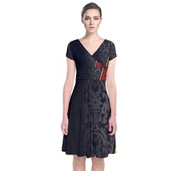 Black Red Yellow Short Sleeve Front Wrap Dress