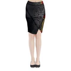 Black Red Yellow Midi Wrap Pencil Skirt