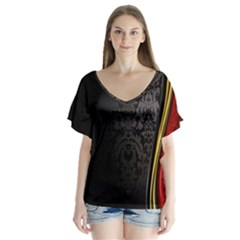 Black Red Yellow Flutter Sleeve Top