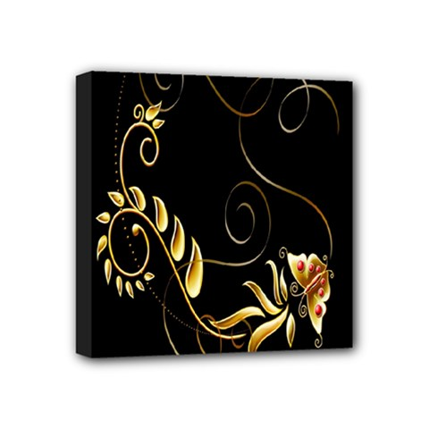 Butterfly Black Golden Mini Canvas 4  x 4