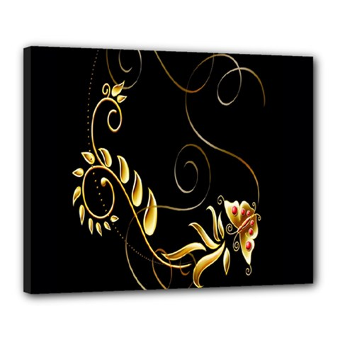 Butterfly Black Golden Canvas 20  x 16