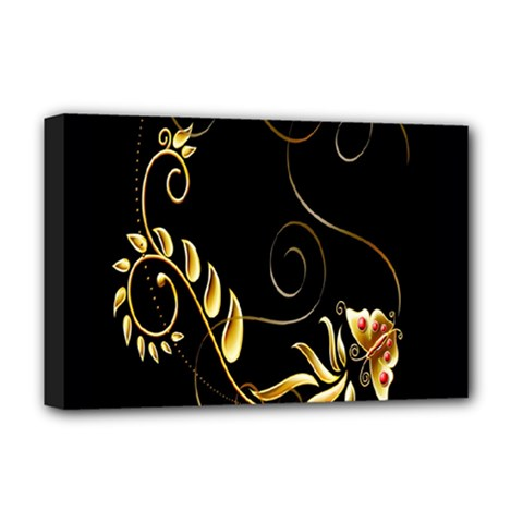 Butterfly Black Golden Deluxe Canvas 18  x 12