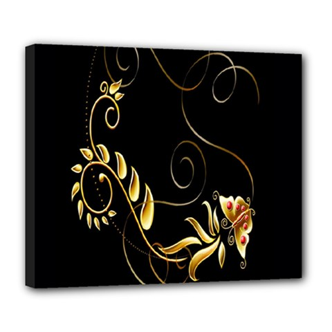 Butterfly Black Golden Deluxe Canvas 24  x 20