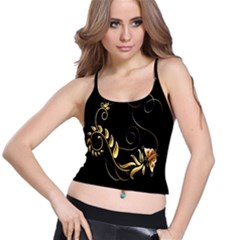 Butterfly Black Golden Spaghetti Strap Bra Top